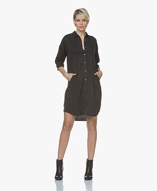 BY-BAR Bloeme Cropped Sleeve Shirt Dress - Phantom Black