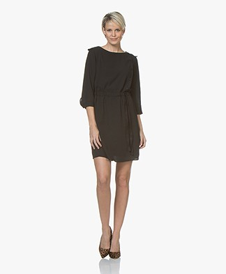 BY-BAR Joshua Crepe Dress with Cropped Sleeves - Black