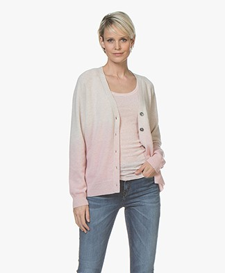 Repeat Cashmere Gradient V-Neck Cardigan - Beige/Pink