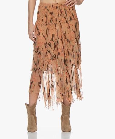 Mes Demoiselles Clematis Chiffon Floral Print Skirt - Beige/Pink