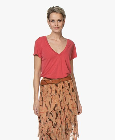 IRO Coko Lyocell Mix V-hals T-shirt - Poppy Red