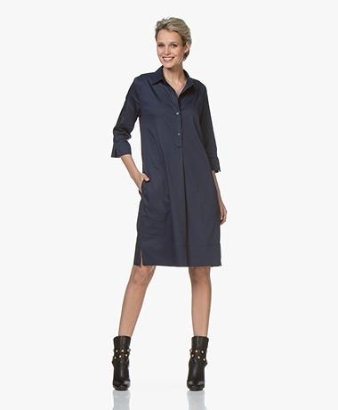 LaSalle Cotton Shirt Dress - Navy