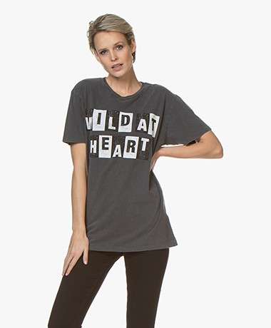 ANINE BING Vintage Wild At Heart Tee  - Washed Black