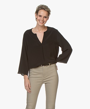 Drykorn Florenia Crepe Silk Blend Split Neck Blouse - Black