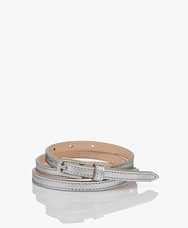 Closed Thin Metallic Leather Belt - Silver
