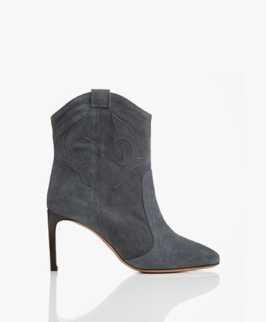ba&sh Caitlin Suede Ankle Boots - Blue Grey