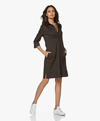 LaSalle Cotton Shirt Dress - Black