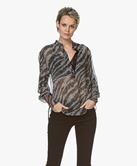 Rag & Bone Maris Popover Silk Chiffon Blouse - Black