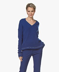 Joseph Pure Cashmere V-neck Sweater - Klein