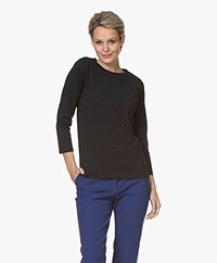 no man's land Cotton Cropped Sleeve T-shirt - Dark Sapphire