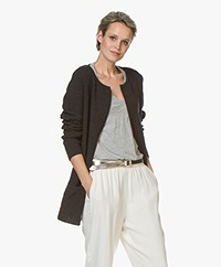 Sibin/Linnebjerg Mary Short Cardigan in Merino Blend - Antra