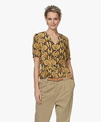 ba&sh Cleo Viscose Printed Short Sleeve Blouse - Ocher