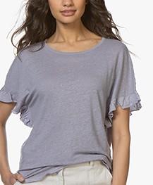 Belluna Bamboo Linen T-shirt with Ruffles - Mauve
