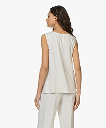 no man's land Pure Linen Split-neck Top - Soft Linen