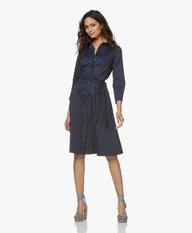 LaSalle Cotton Fit & Flare Shirt Dress - Navy