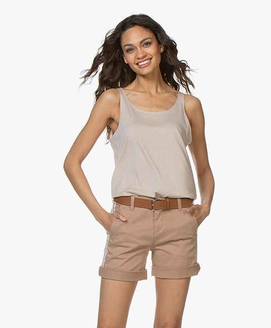 Repeat Lyocell Blend Tank Top - Light Beige