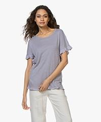 Belluna Bamboo Linnen T-shirt met Ruches - Mauve