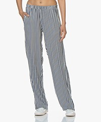LaSalle Striped Viscose Crepe Pants - Navy