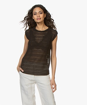 BY-BAR Phoeby Open-work Knitted Top with Lurex - Phantom Black