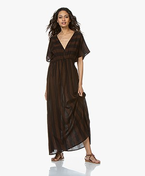 BY-BAR Cotton Maxi Dress with Embroidered Stripes - Black