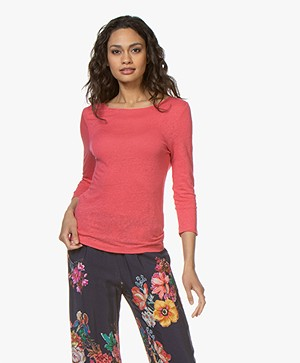 Belluna Azzurra Linen Cropped Sleeve T-shirt - Coral