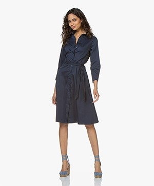 LaSalle Cotton Fit & Flare Shirt Dress - Navy
