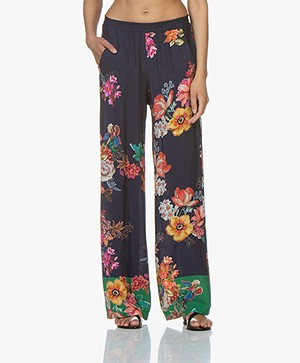 LaSalle Flower Print Loose-fit Pants - Dark Blue