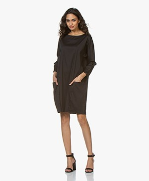 Woman by Earn Bee Stretch Poplin Dress - Black