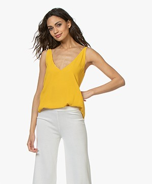 ba&sh Figue Reversible Crêpe Top - Yellow Amber