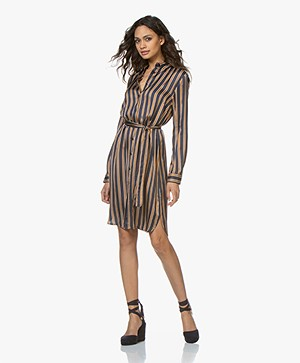 no man's land Striped Satin Shirt Dress - Dark Blue