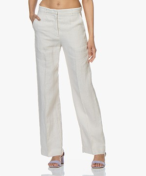no man's land Wide Leg Linen Pants - Soft Linen