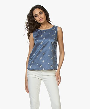 no man's land Silk Blend Bird Print Top - Indigo