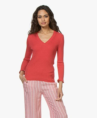 Belluna Space V-Neck Pullover with Ruffles - Coral