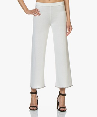 Fine Edge Knitted Cropped Wide Leg Pants - Off-white