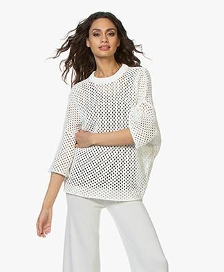 IRO Ornament Katoenen Crochet Trui - Off-white