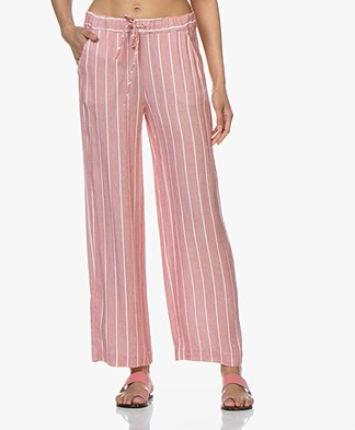 Josephine & Co Candace Striped Linen Blend Pants - Red