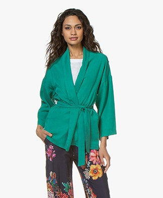 indi & cold Lyocell Belted Wrap Blazer - Verones