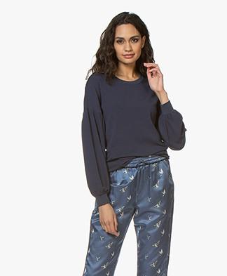 Denham Compass Puff Sleeve Sweater - Dress Blue