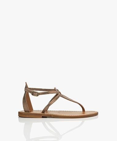 K. Jacques St. Tropez Buffon Metallic Leather Sandals - Disco Bronze