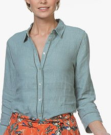 Belluna Fives Linen Blouse - Emerald