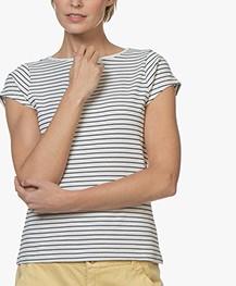 no man's land Striped Rib T-shirt - Ivory/Dark Sapphire