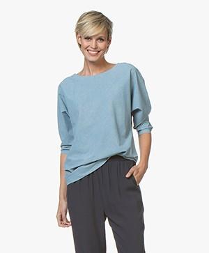 JapanTKY Sif Print Travel Jersey T-shirt - Soft Grey/Sky Blue