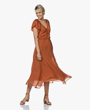 Mes Demoiselles Falbala Printed Silk Midi Dress - Orange