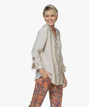 Repeat Linen Blouse with Tie Cuffs - Linen