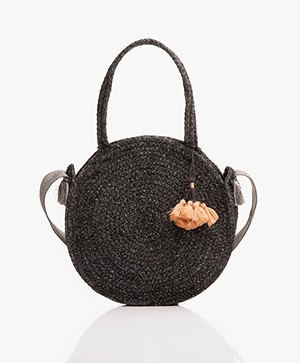 indi & cold Round Jute Shoulder Bag - Black
