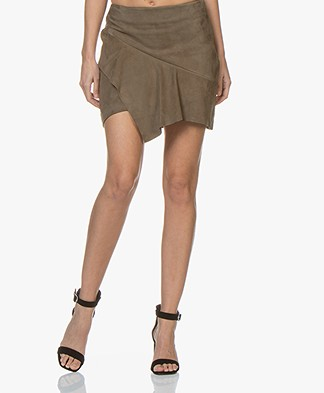 ba&sh Mala Suede Ruffle Mini Skirt - Khaki