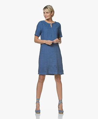Belluna Delhi Embroidered Linen Dress - Indigo
