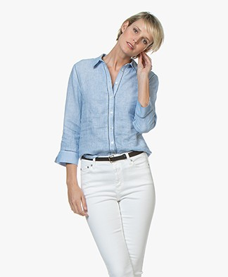 Belluna Fives Linen Blouse - Light Blue