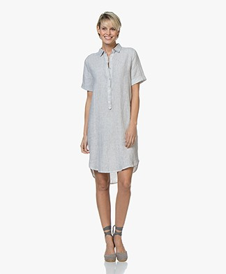 Belluna Jerry Garment-dyed Linen Tunic Dress - Light Grey