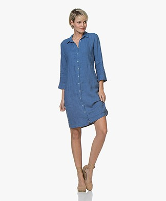 Belluna Jerry Garment-dyed Linen Shirt Dress - Indigo